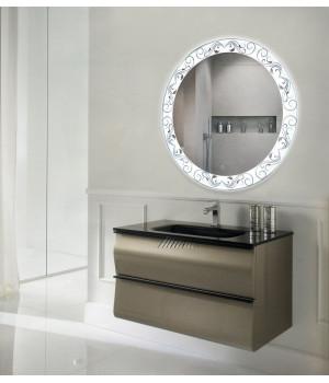 Зеркало в ванную комнату с подсветкой светодиодной лентой Эмма
